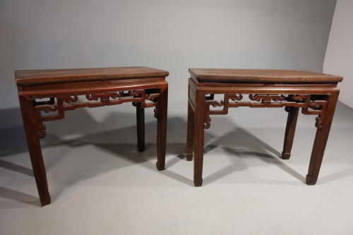 An Early 20th Century Pair of Strongly Designed Elm Half Tables