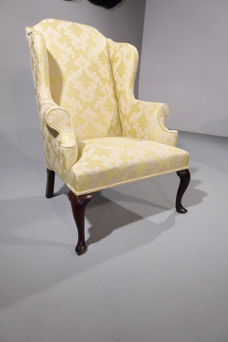 A Most Shapely Mid 20th Century Queen Anne Designed Walnut Framed Wing Chair