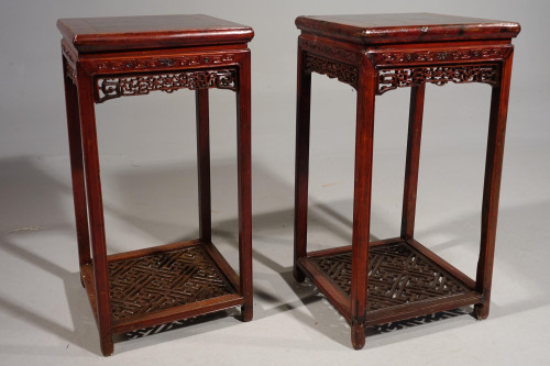 An Exceptional Pair of Late 19th Century Hongmu Lamp Tables