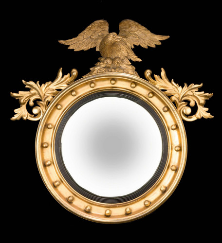 Regency Period Convex Mirror with Carved Foliage and Eagle