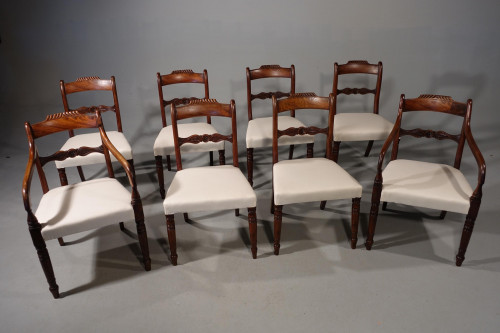 An Attractive Set of 8 (6+2) Regency Period Mahogany Chairs