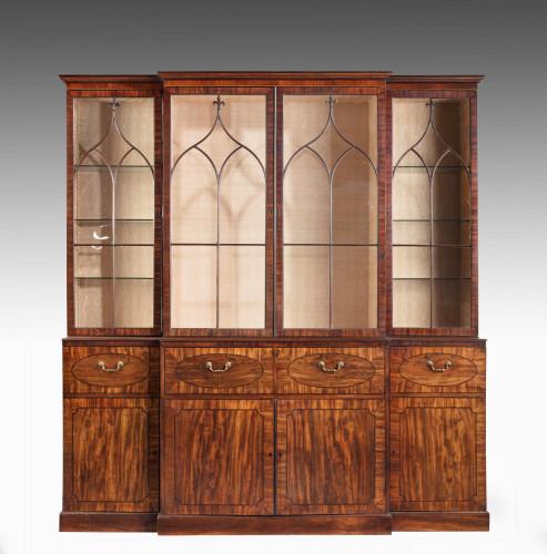 Sheraton Period Mahogany Breakfront Bookcase