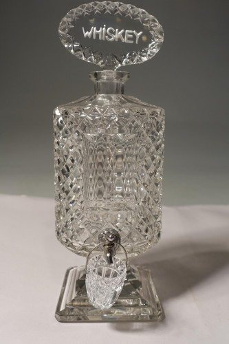 An Extremely Rare Late 19th Century Lead Crystal Cut Glass Whiskey Dispenser