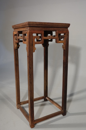 An Unusual Late 19th Century High Table or Stand in Chinese Elm