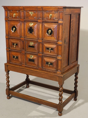 A Handsome Late 17th Century Block Fronted Oak and Mahogany Chest