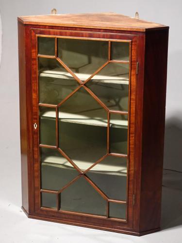 A Pretty George III Period Mahogany Glazed Corner Cupboard