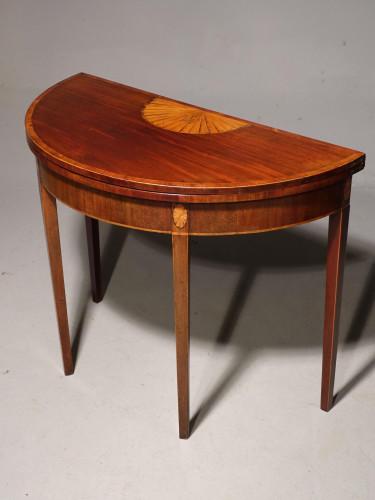 A Good George III Period Mahogany Demilune Table