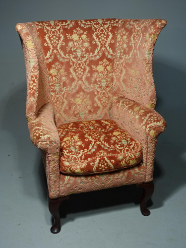 A Fine and Well Shaped Late 19th Century Mahogany Framed Wing Chair