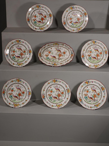 An Early 20th Century Set of 8 Copeland Spode Oriental Pheasant Porcelain Plates
