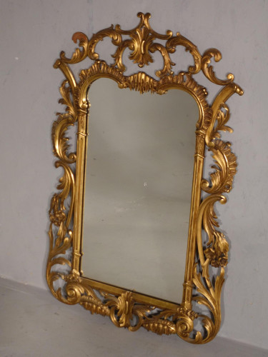 A Classical Late 19th Century  Chippendale Style Giltwood Mirror