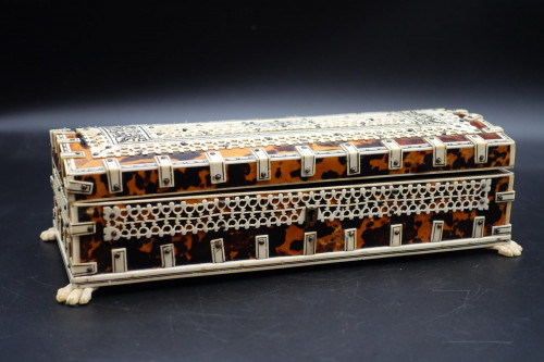 A Complex Late 19th Century Tortoiseshell and Ivory Glove or Jewellery Box