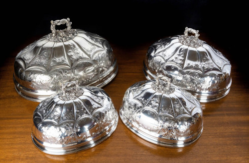 A Set of 4, Late Nineteenth Century, Metal Covers of Various Sizes