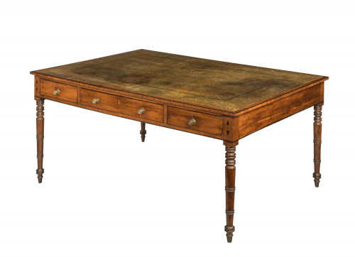 19th Century Mahogany Library Table with Three Drawers to Each Side