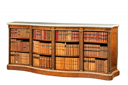 Mid 19th Century Burr Oak Open Bookcase of Serpentine Form