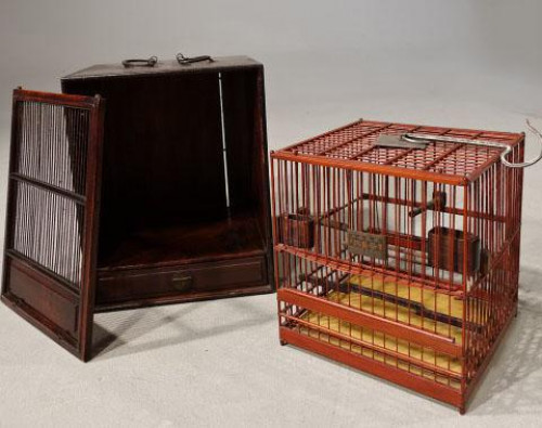 A Most Unusual 1920's Hardwood and Lacquered Bird Cage