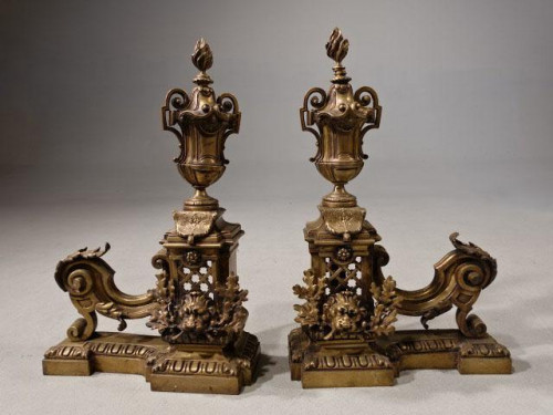 A Late 19th Century Pair of French Bronze Chenet
