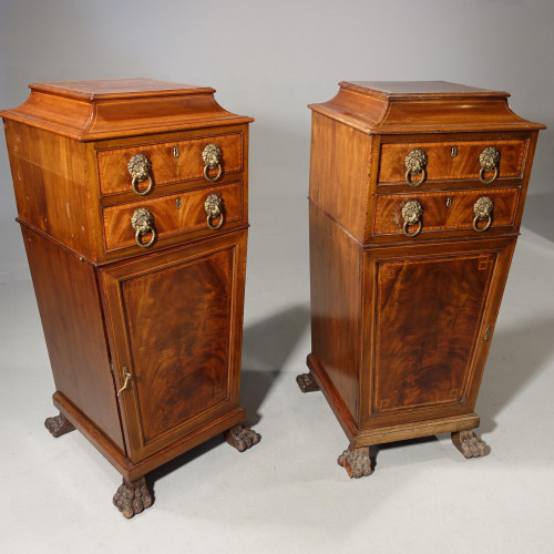 A Particularly Fine Pair of Early 19th Century Mahogany Pedestal Cupboards