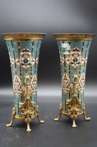 A Fine Pair of Mid 20th Century of Champlevé Flared Enamelled Vases