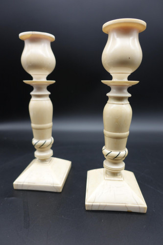 A Beautiful Pair of Late 19th Century Indian Ivory Candlesticks