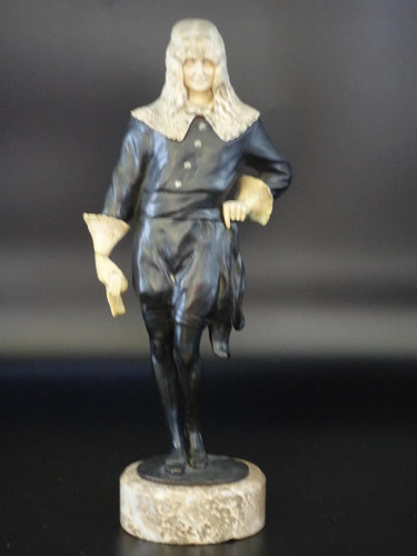 An Unusual Late 19th Century Bronze and Ivory Figure of a Court Dandy