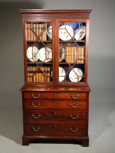 A Small Chippendale Period Glazed Bookcase on Chest