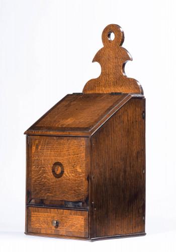 George III Period Oak and Mahogany Salt Box