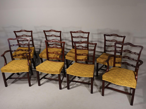 An Attractive Set of 8 (6+2) Chippendale Design Ladder Backed Chairs