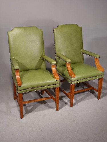 A Sturdy Pair of Early 20th Century Mahogany Framed Desk of Library Chairs