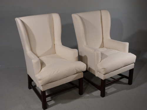 A Handsome Pair of 18th Century Style Wing Chairs
