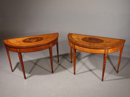An Exceptional Pair of George III Period Satinwood Demilune Tables