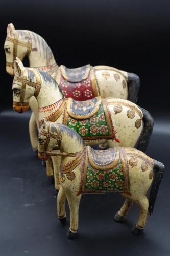 An Unusual Set of Three Mid 20th Century Indian Papier-Mâché Horses
