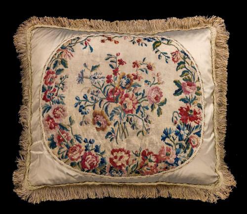 Cushion: 18th Century, Wool. Vibrant Flowers.