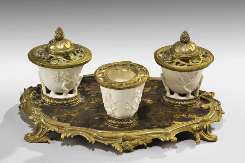 Rare 19th Century Gilt Bronze and Chinese Lacquered Inkwell