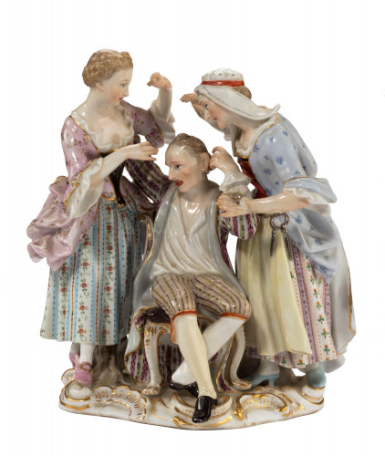 Late 19th Century Meissen Group of Two Women Tormenting a Male