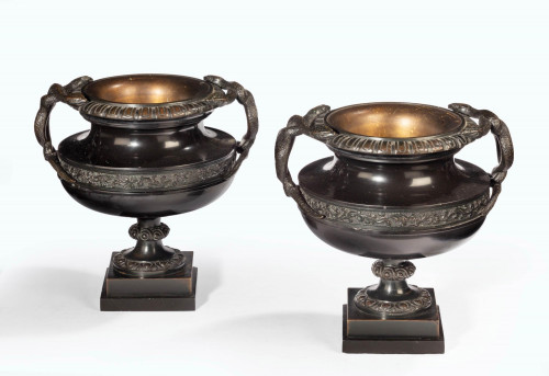 A Handsome Pair of 19th Century Bronze Neoclassic Urns
