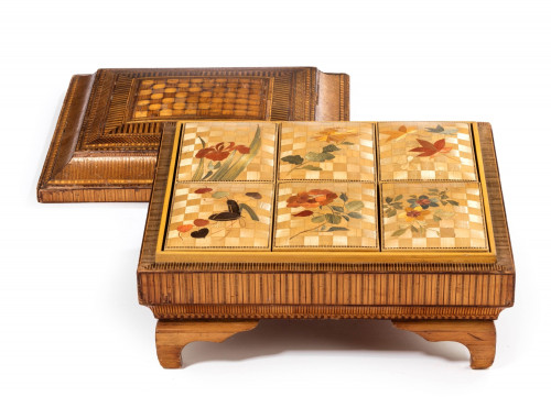 19th Century French Straw Work Box of Quite Outstanding Complexity