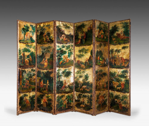 A Mid 18th Century Six Fold Screen