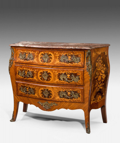 Mid 19th Century Kingwood Marquetry Bombe Commode