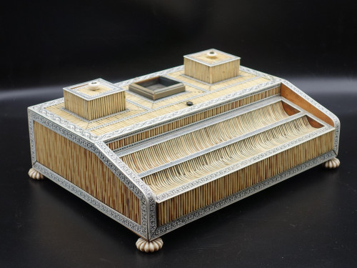 A Rare Early 19th Century Ivory and Blonde Quill Vizagapatam Desk Set