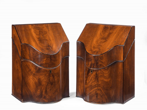A Pair of George III Period Mahogany Knife Boxes