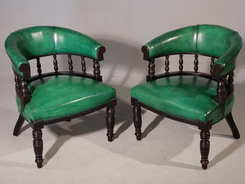 A Fine Pair of Victorian Horseshoe Backed Library or Desk Chairs