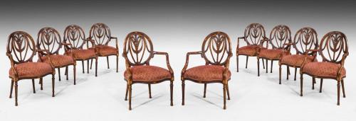 Set of Ten Mid-20th Century Mahogany Elbow Chairs