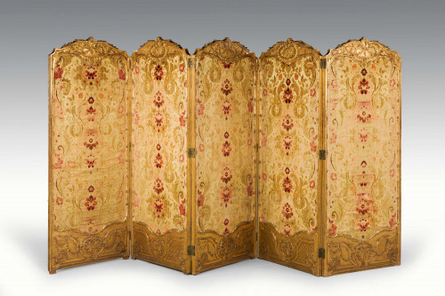 19th Century French Giltwood Five Fold Screen