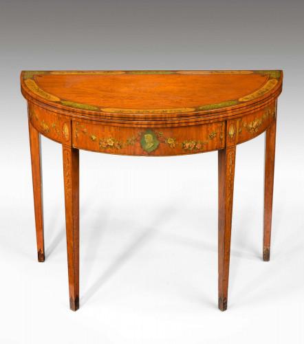 George III Period Demilune Satinwood Card Table