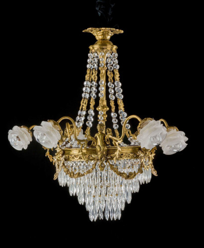 A Late 19th Century Gilt Bronze and Cut Glass Six Arm Chandelier