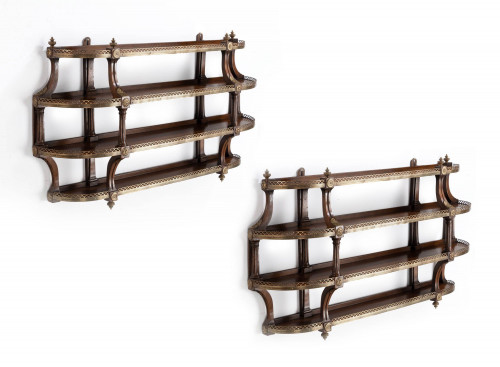 A Most Unusual Pair of Four Height Mahogany Wall Shelves