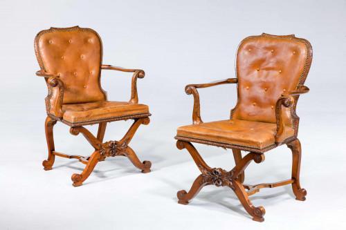 Pair of George II Design Open Armchairs