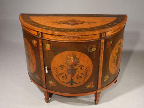 An Attractive Late 19th Century Demilune Commode