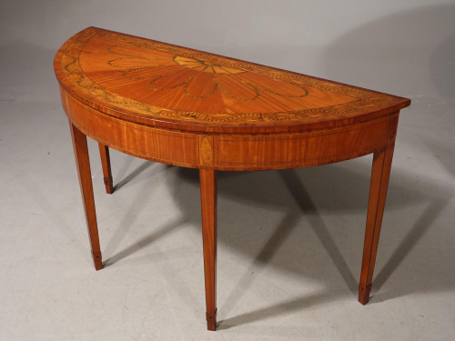A Fine Late 19th Century George III Style Demilune Pier Table