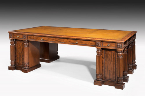 A Fine and Rare William IV period Mahogany Four Partners Architects Library Desk